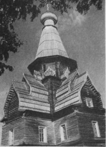 1.43 Крещатая Успенская церковь (1674 г.) 6 с. Варзуга Мурманской обл. а — западный фасад; б — план; в — общий вид (фото Ю. С. Ушакова)