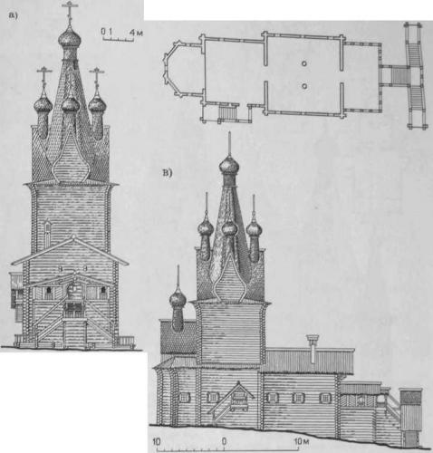 1.51 Церковь Михаила Архангела (1686 г.) в с. Юрома: а — западный фасад; б — план; в северный фасад (обмер Ф. Ф. Горностаева. 1898 г.)